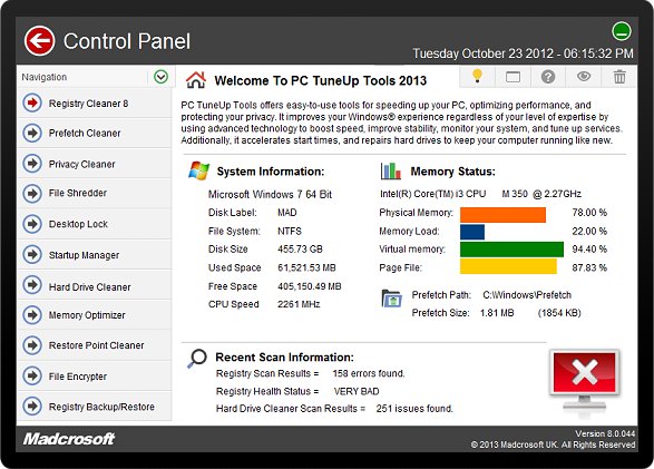 Download Madcrosoft PC TuneUp Tools 2013 8.0.045 Full  Key/ Serial